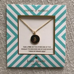 NWT kate spade 'one in a million' gold 'B' necklac
